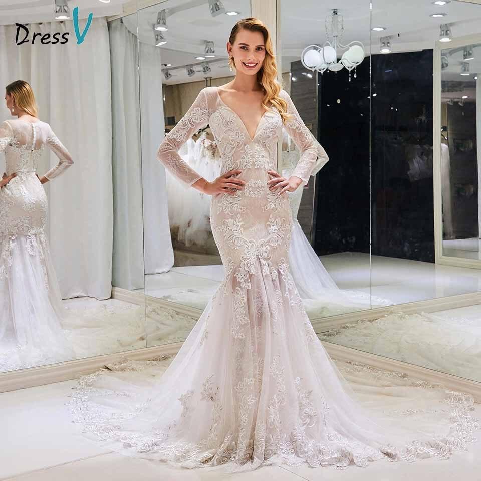 Dressv col en v robe de mariée sirène appliques manches longues bouton dentelle longueur de plancher mariée en plein air et église robes de mariée