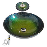Colorful Round Tempered Glass Bathroom Wash Basin Sink Bowl Set With Waterfall Faucet Water Drain And