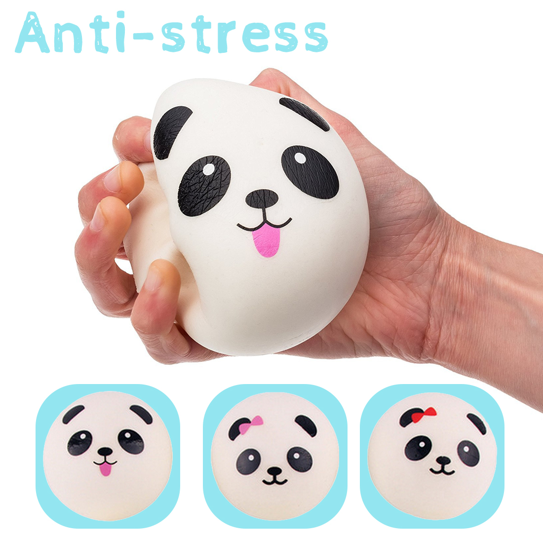 10/7/4cm Squishy Toy Soft Slow Rising Jumbo Panda Face Bread Squeeze Kid Fun Hobby Stress Reliever Decor Phone Strap Gift J11