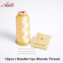 12pcs I Needle+1pc Blonde Salon Hair Weaving Thread/High Strength Polyester Thread for Brazilian/Indian hair Weave(China)