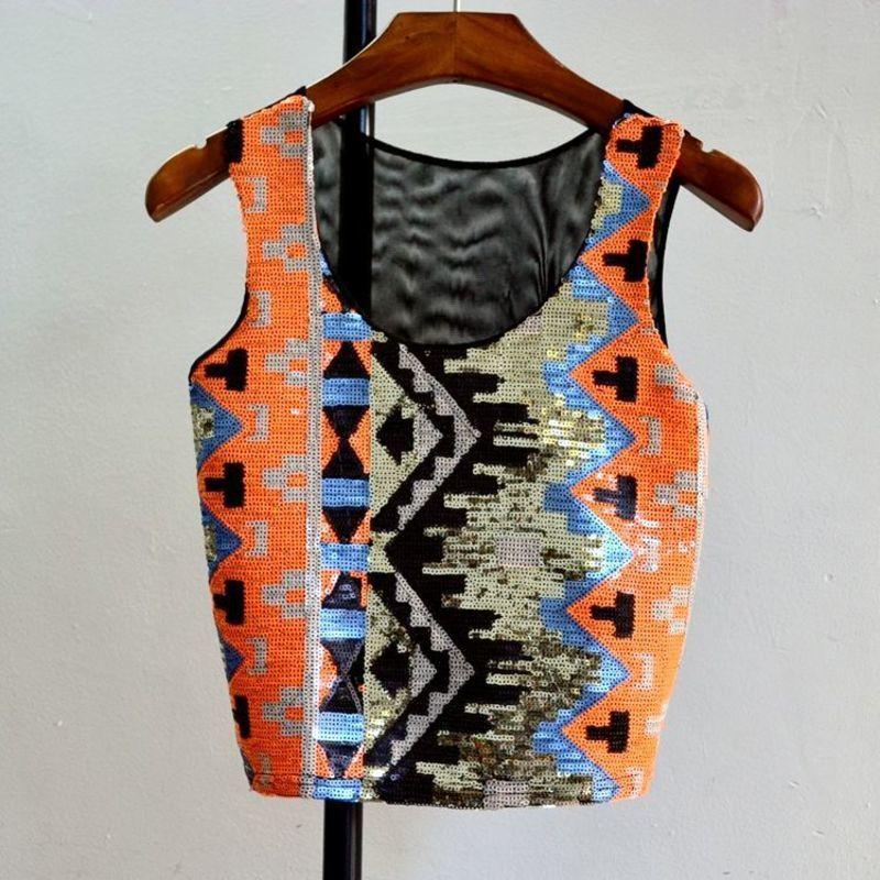 MUXU sexy geometric sequin short top summer tank top women clothing glitter haut femme crop tops streetwear sleeveless bustier
