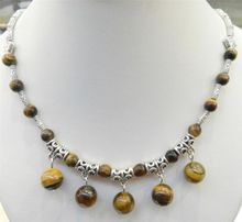Tiger's Eye Round Beads Pendants Necklace