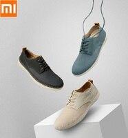 Xiaomi youpin qimian แฟชั่นหนังผู้ชายน้ำหนักเบารองเท้าสบายๆนุ่มสบายและ breathable ยาง sole