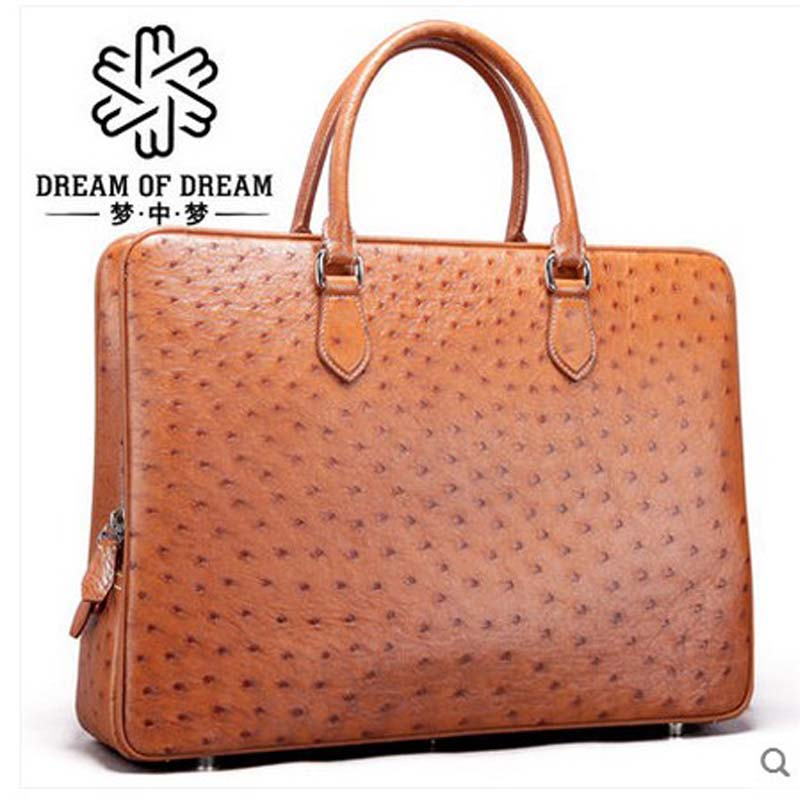 mengzhongmeng new imported ostrich leather men handbag men briefcase ostrich leather fashion business popular men laptop bag купить