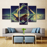 Earth Landscape Canvas Painting 5pcs Unframed Wall Art for Office Decor Artwork Modular Pictures Customized and Wholesale