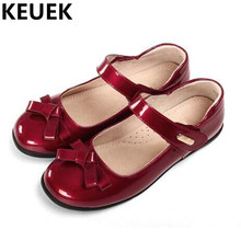 NEW Spring/Autumn Children Single Shoes Girls Flats Princess Fashion Bowtie Casual Student  Dance Leather Shoes Kids Girls 044