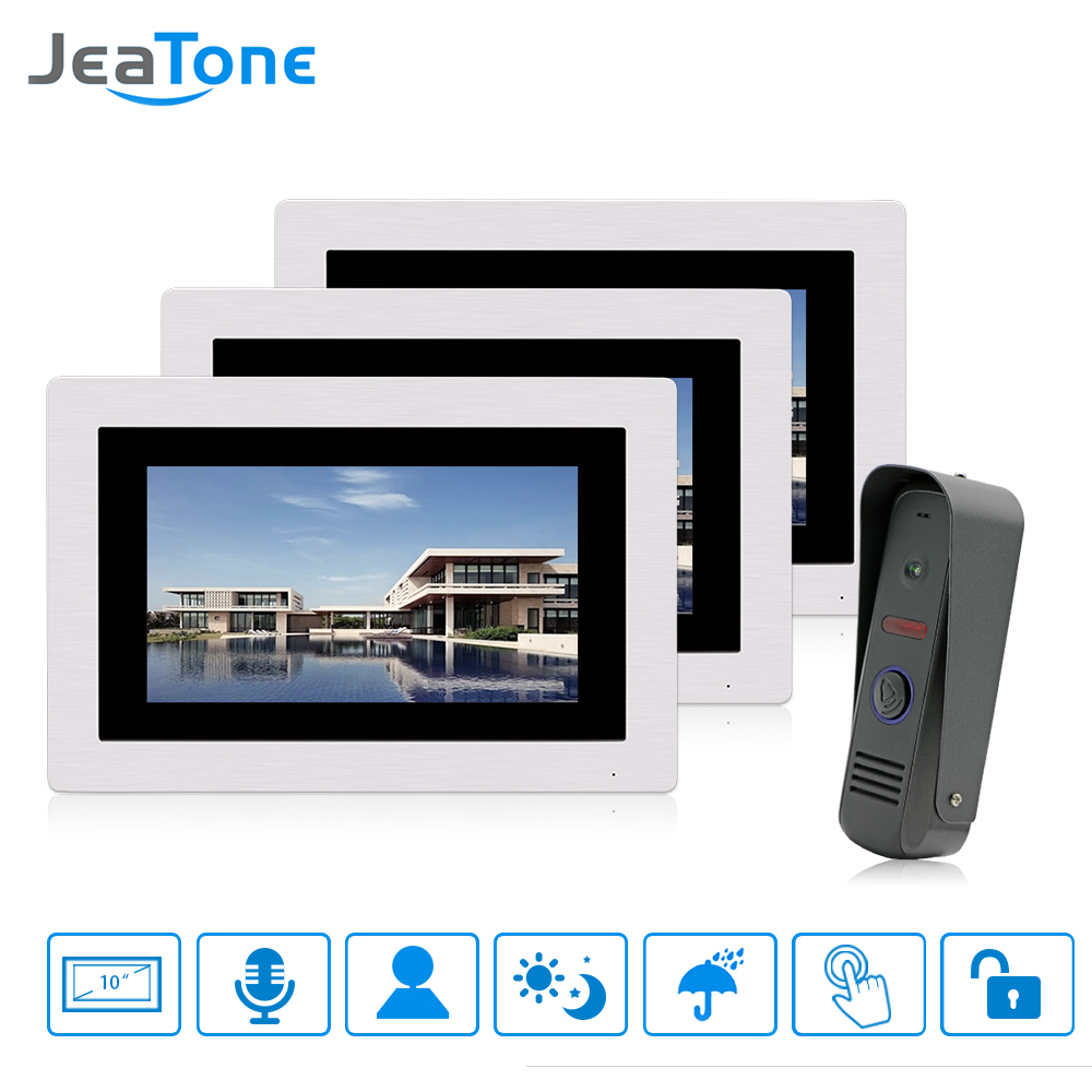JeaTone 7Touch Screen Video Door Phone Doorbell Intercom System Home Security 3 Monitor with 1 Waterproof Camera Free Shipping jeatone video phone home intercom audio doorbell 3 7mm pinhole cameras with 4 indoor monitor screen wired office intercom