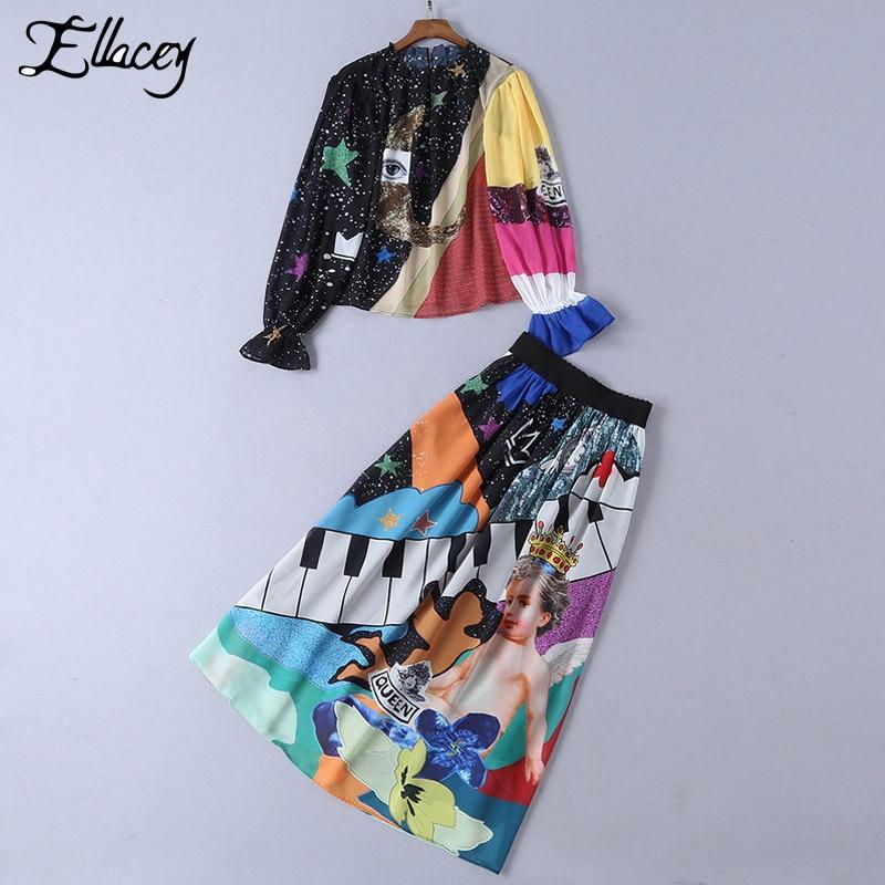 Ellacey Brand Fashion Contrast Color Skirt Suit Female Moon Eye Angel Print Blouse Two Piece Set Women Catwalk Skirt 2 Piece Set