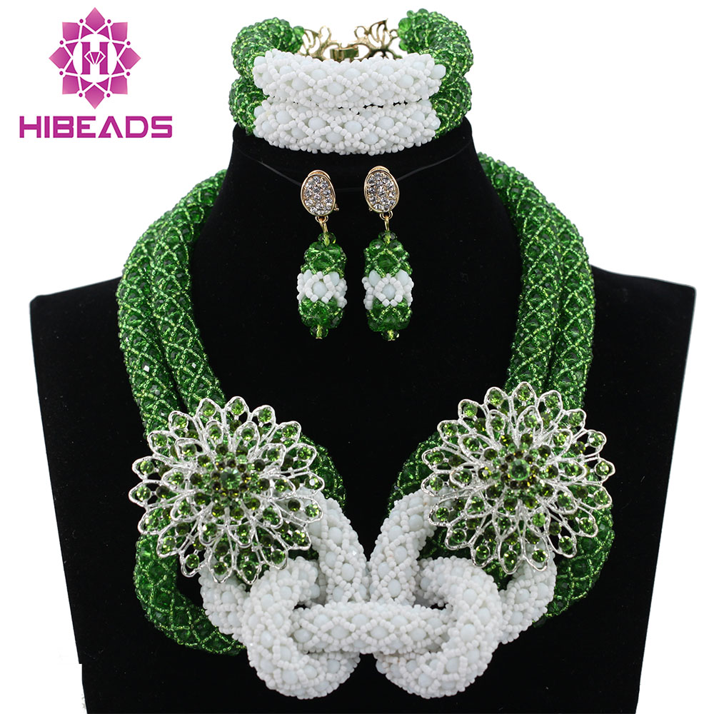 Chunky Green Bridal Costume Jewelry Set White Beads Crystal Indian Wedding African Jewelry Set Wholesale Free Shipping ABL275
