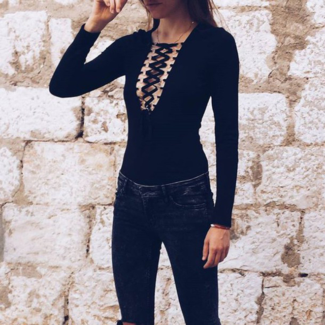 S~XL Plus Size New Fashion Autumn and Winter Solid Hollow Out Cross Lacing Sexy Long Sleeve Bottoming Deep V neck women bodysuit