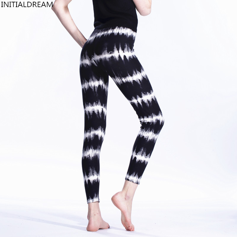 Womens   Leggings   2019 Casual High Waist Stretch Elasticity Leggins Black and White Electric Ripple Printed   Leggings   Pant