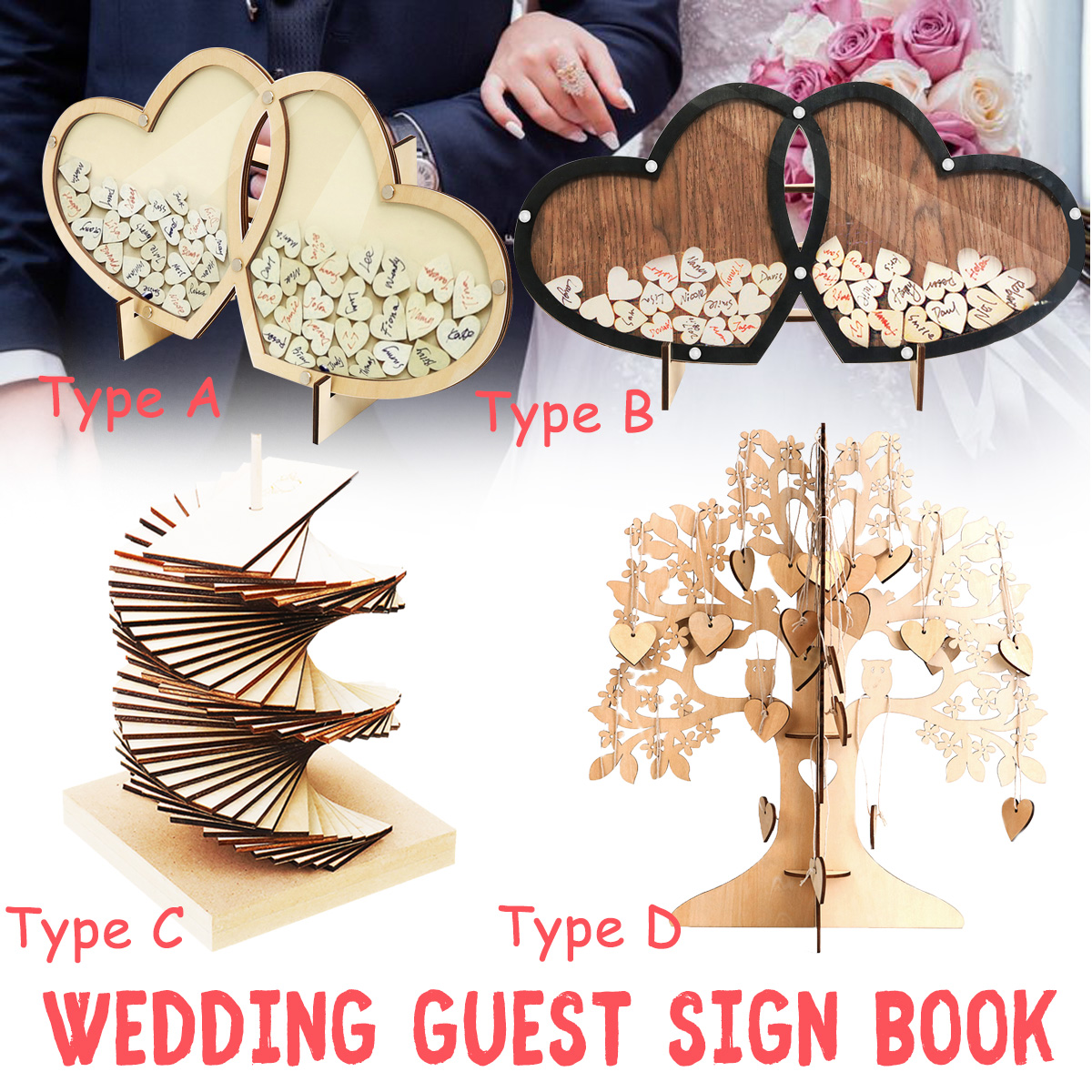 fb27fcade Wedding Guest Book Personalized Tree Visit Signature Sign Book Wooden  Hearts Rustic Ornaments for Wedding Party Decor Supplies