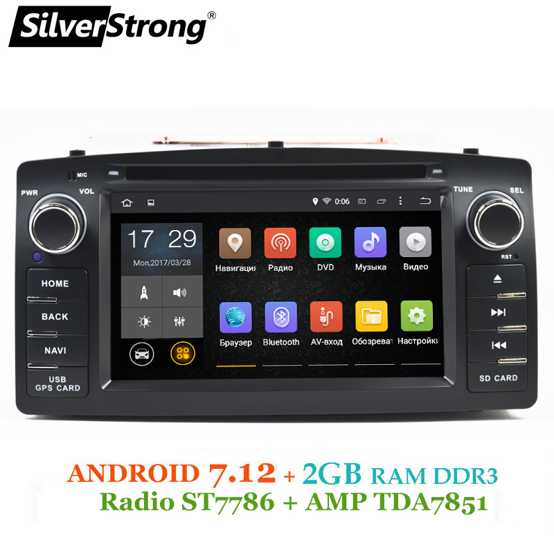 SilverStrong 2 gb RAM Android7.12 Universel Voiture DVD COROLLA E120 GPS Pour TOYOTA corolla ex radio Navigation android TPMS