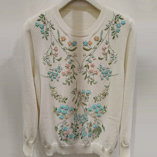HIGH QUALITY New Fashion 2016 Designer Sweater Women's Long Sleeve Stunning Flowers Beading Pullover Sweater