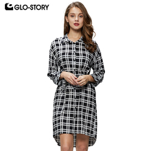 GLO-STORY Women Checked Loose Cotton Shirt Dress Womens Casual Long Sleeve  With Belt Plaid Dresses WCS-6193