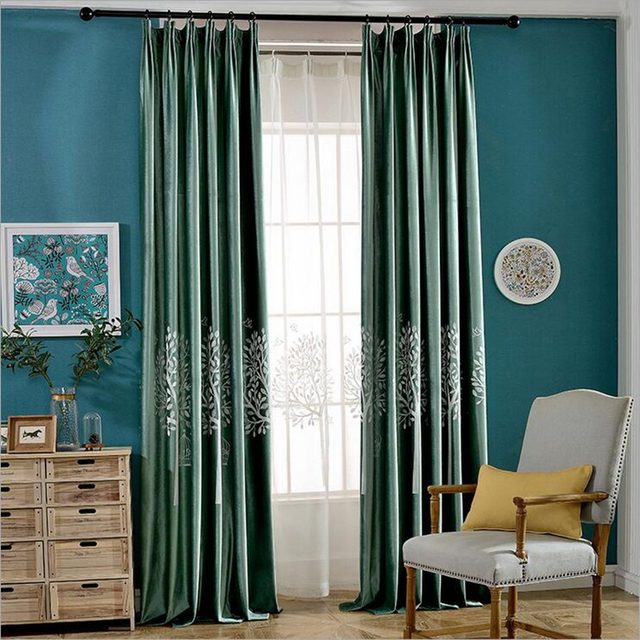 Purple Blackout Curtain Night Curtains White Embroidered Sheer Tulle Green Window Panel Velvet Fabrics Su259 20
