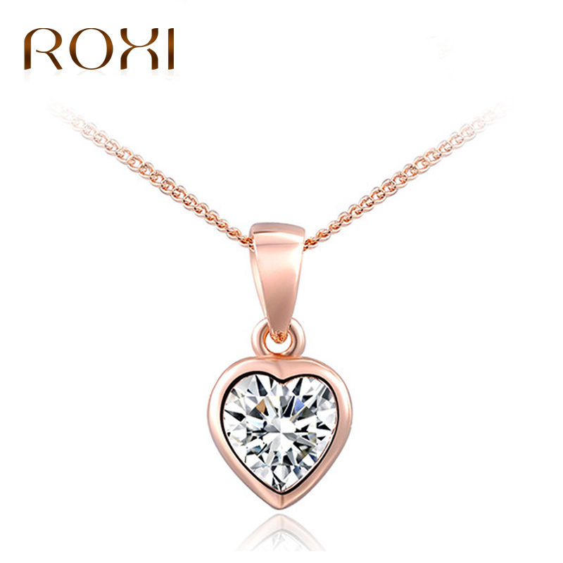 ROXI Wholesale 5pcs/ lot Women Necklace Heart Rose Gold Jewelry Crystal Pendant Necklace for Women Choker Charm Colar Feminino zrm 20pcs lot wholesale fashion jewelry vintage charm potter golden snitch necklace for men and women