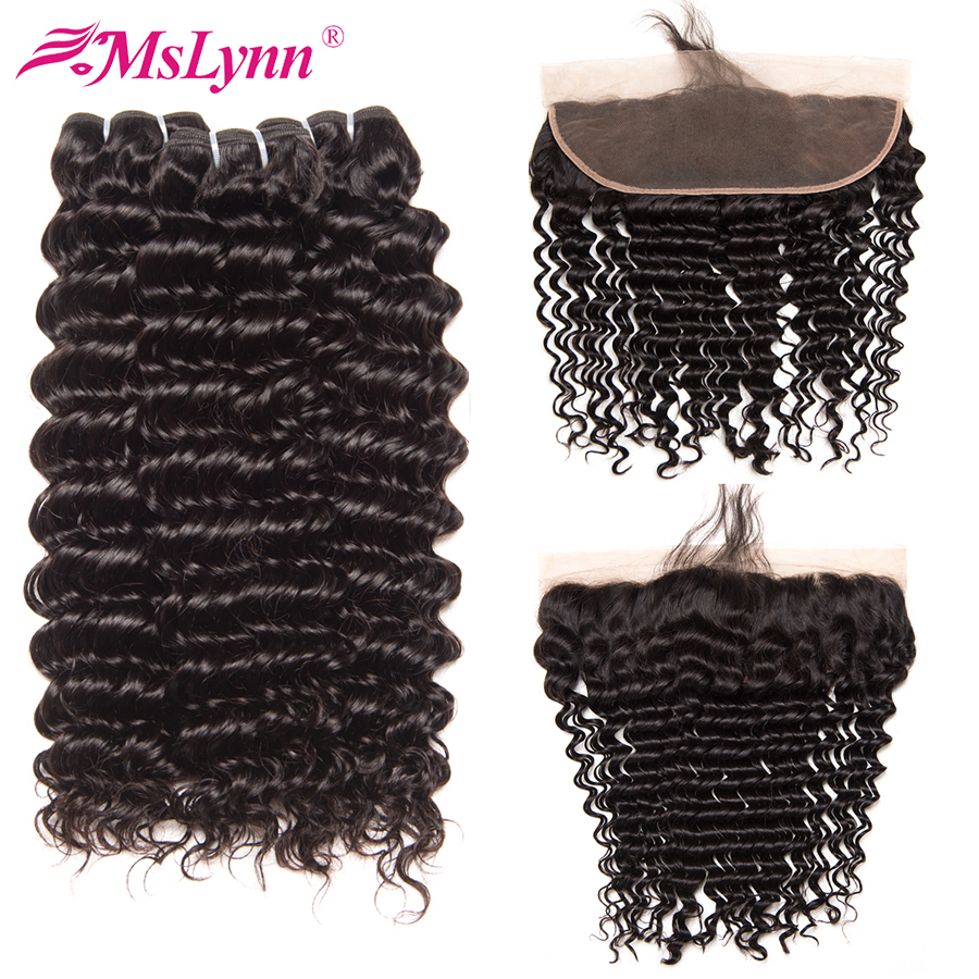 Deep Wave Bundles With Frontal Human Hair Bundles With Closure Indian Hair Bundles With Frontal Mslynn