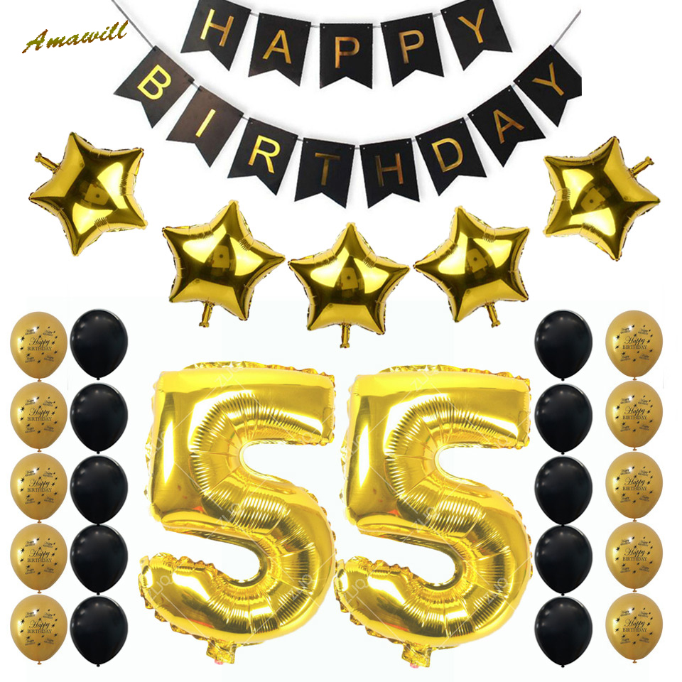 Online Shop Amawill 55th Birthday Party Decoration Kit Gold Black Balloon Number Happy Banner Supplies 7F