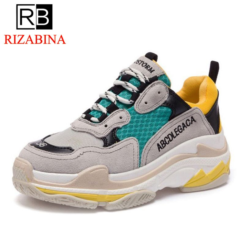 RizaBina Women Flats Shoes Real Leather Dad Shoes Walkable Flats Sole Women Flats Shoelaces Sneakers Girl Footwear Size 35-40 rizabina concise women sneakers lady white shoes female butterfly cross strap flats shoes embroidery women footwear size 36 40