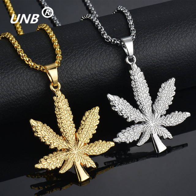 UNB 2017 New Gold Silver Plated Cannabiss Small Weed Herb Charm Necklace Maple Leaf Pendant Necklace Hip Hop Jewelry Wholesale 1