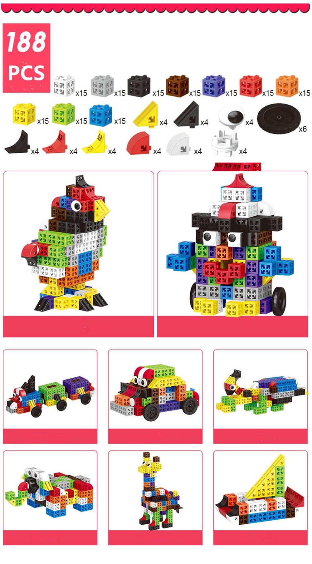34/48/88/138/188pcs Blocks Cubes Unit Plastic Interlocking Construction Model Building Set of Early Educational Toys For Child 15