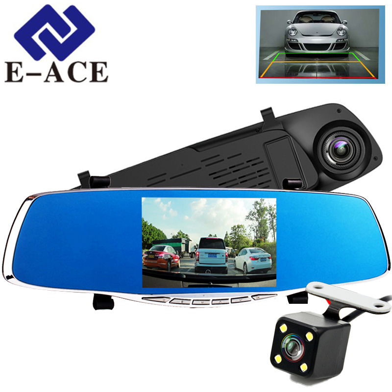 E-ACE 5.0 Inch Registrator Car Dvr Camera Rearview Mirror Auto Dvrs Dual Lens Automotive Dash Cam Full HD 1080 P Video Recorder e ace car dvr 5 inch camera full hd 1080p dual lens rearview mirror camcorder auto video registrator dvr recorder dash cam