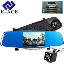 E-ACE 5,0 дюймов Регистратор Автомобильный видеорегистратор Камера Зеркало заднего вида авто Dvrs Двойной Объектив Автомобильные регистраторы Full HD 1080 P видео Регистраторы