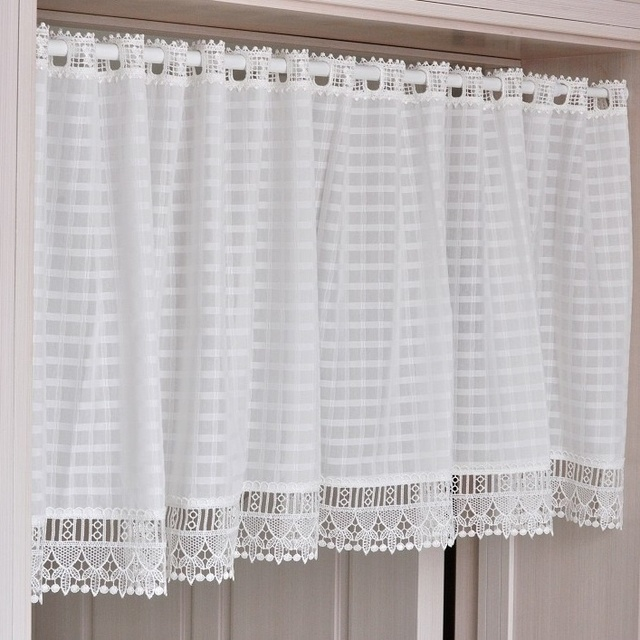 White Window Short Curtains French Provincial Home Kitchen Lace Sheer  Curtain Cafe Eyelet Top Rrid Classic