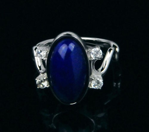 Vampire Diaries Elena s Real lapis Stone Ring 925 Sterling Silver Size US5 9 in gift