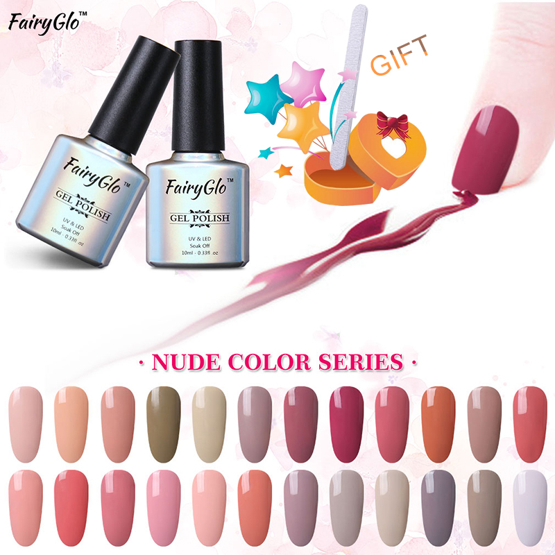 FairyGlo 10ml Nude Color Gel font b Nail b font Polish with Buffer File UV font