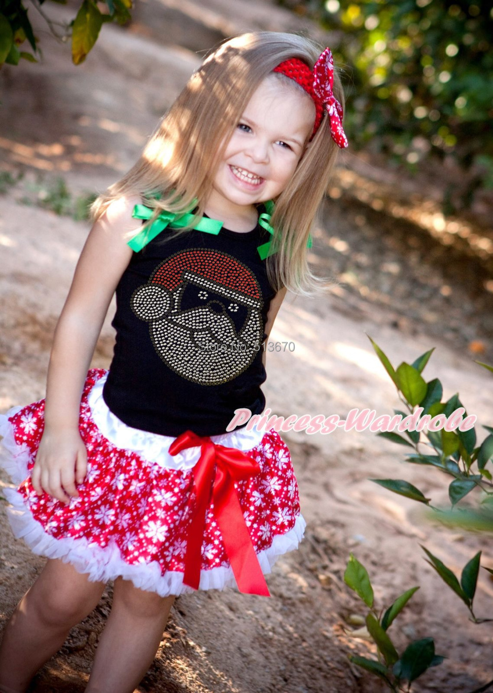 XMAS Rhinestone Santa Claus Black Top Snowflakes Skirt Girl Party Outfit 1-8Y MAMG211 xmas minnie snowman white shirt top santa claus skirt girl clothing outfit 1 8y
