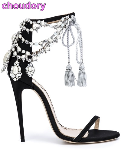 Luxury Brand Bling Bling Crystal Sandals Glittering Drape Pearls Shoes Lace-up Tassel Pumps Black Suede Thin Strap Shoes bling bling crystal flower thin high shoes glittering wedding banquet pumps princess glass slipper