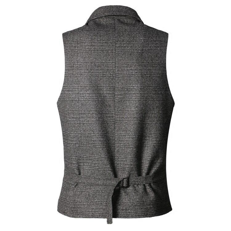 2017 New Men England slim woolen grey plaid vest Metrosexual men brand design fashion casual business suit vest autumn waistcoat