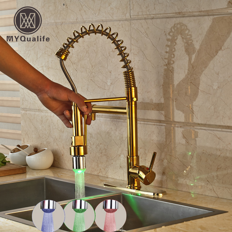 Golden Brass Kitchen Hot and Cold Water Taps Single Handle Pull Down Kitchen Mixer Tap with LED Light + 8 Hole Cover Plate kitchen chrome plated brass faucet single handle pull out pull down sink mixer hot and cold tap modern design