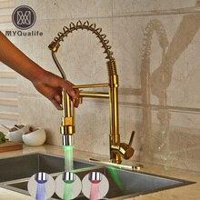 Золотой латуни Кухня краны горячей и холодной воды Одной ручкой Pull Пух Кухня смесителя со светодиодной подсветкой + 8 «отверстие крышки
