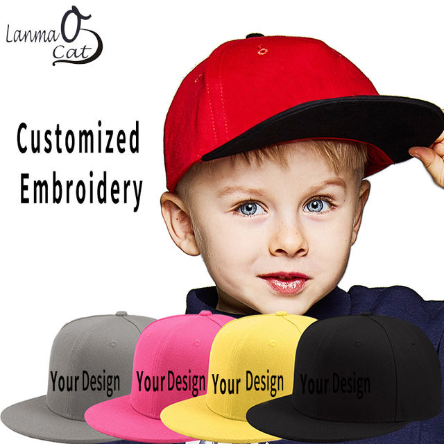 Lanmaocat Children Hip Hop Cap Customized Embroidered Logo Caps Personalized  3D Embroidery Hip Hop Gift Hats Free Shipping 9be5f2f2f2d