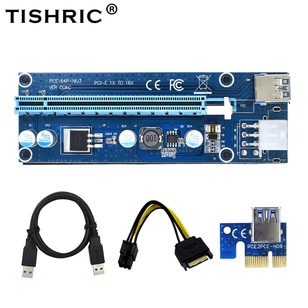 TISHRIC VER 006C Blue PCI-E PCE Express Riser Card 1X To 16X Extender USB3.0 DATA Cable SATA To 6Pin IDE Power For BTC Miner