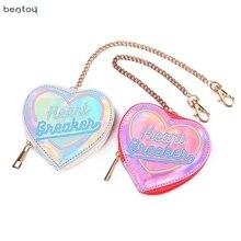 Bentoy Korean Chic Women Heart Hologram Wallet Laser PU Small Coin Purse Zipper Clutch Money Purse Bank Card Holders Bag Pouch