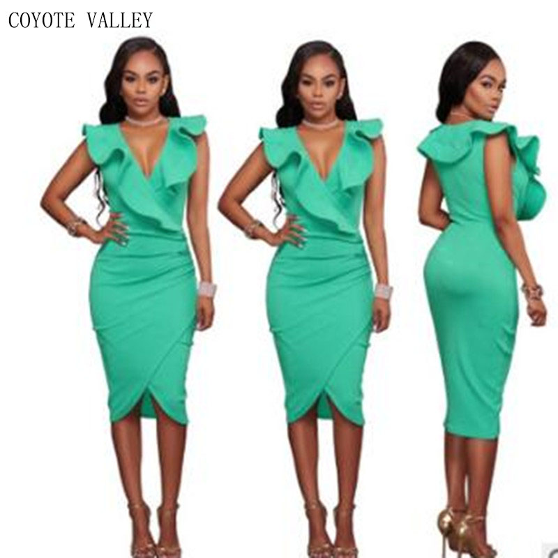 Plus Size Limited Coyote Valley Free Shipping 2018 Sexy Sleeveless V-neck Falbala Package Buttocks Dress Wholesale - Robe Ete