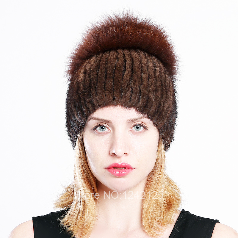 New winter women kids children girl knitted mink fur hat warm striped with large fox fur ball real mink weave hats caps beanies