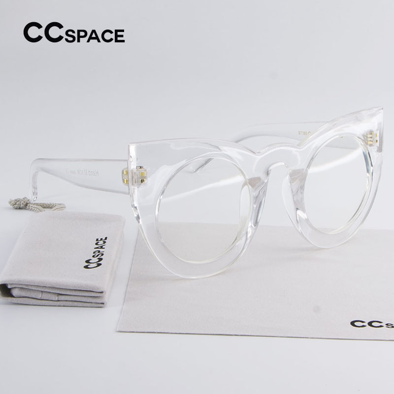 C'45018 Stylish Girl Round Cat Eye Glasses Frame Luxury Brand Designer Women EyeGlasses Oversized Transparent Eyewear