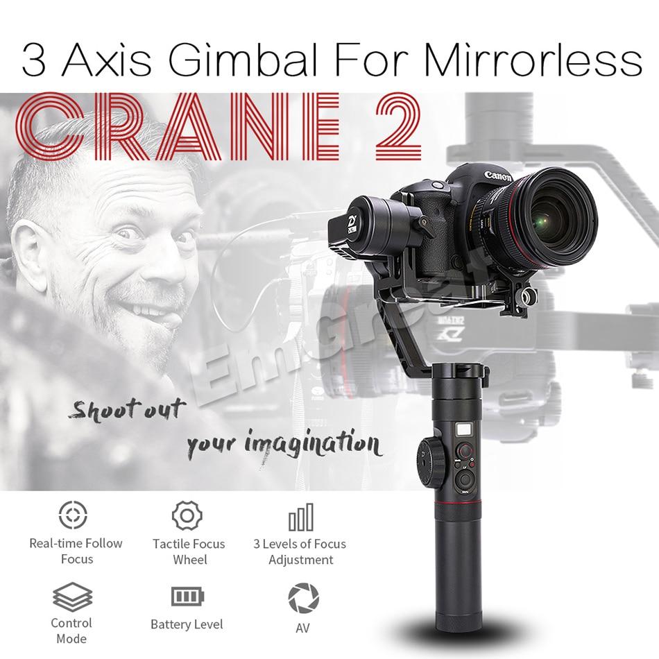 Newest Zhiyun Crane 2 3 Axis Handheld Gimbal Video Camera Gyro Stabilizer With Follow Fokus For Mirorrles Dslr Lens Cloth Chikwata Chemicheka Chekuchenesa Brush Iine Guruva Rinokonzera Zvichikonzera Kusakanganiswa Kumeso Nekukona Pamusoro