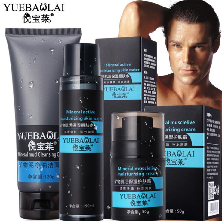 3 Sets Man Mineral Mud Cleansing Cream Active Moisturizing Skin Water Musclelive Moisturizing Cream Oil Control Moisturizing