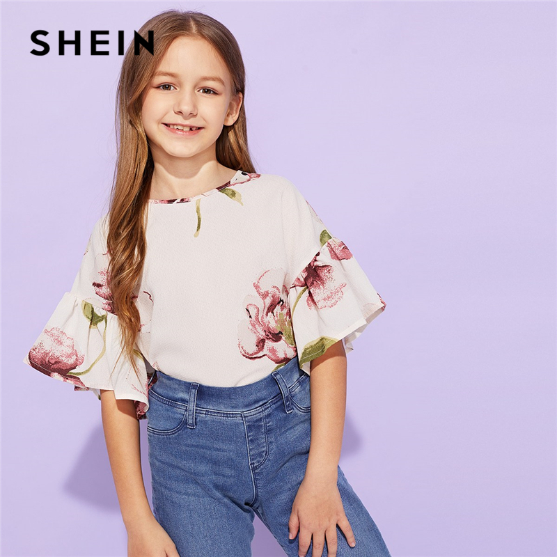 SHEIN Kiddie Girls Apricot Floral Print Blouse Girls Tops 2019 Summer Korean Short Flounce Sleeve Cute Tee Shirts Kids Clothes plus asymmetrical flounce shoulder peplum hem blouse
