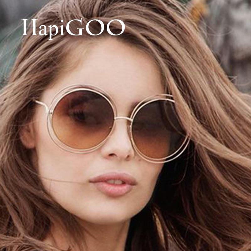 a0596ed675d HapiGoo Fashion Vintage Oversized Round Sunglasses Women Mirror Brand Design  Steampunk Sun Glasses For Female Big Frame Eyewear