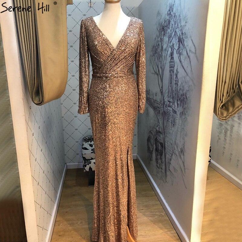 Dubai Rose Gold Sequined V-Neck Evening Dresses 2019 Luxury Long Sleeves Sparkle Evening Gowns Serene Hill LA60970