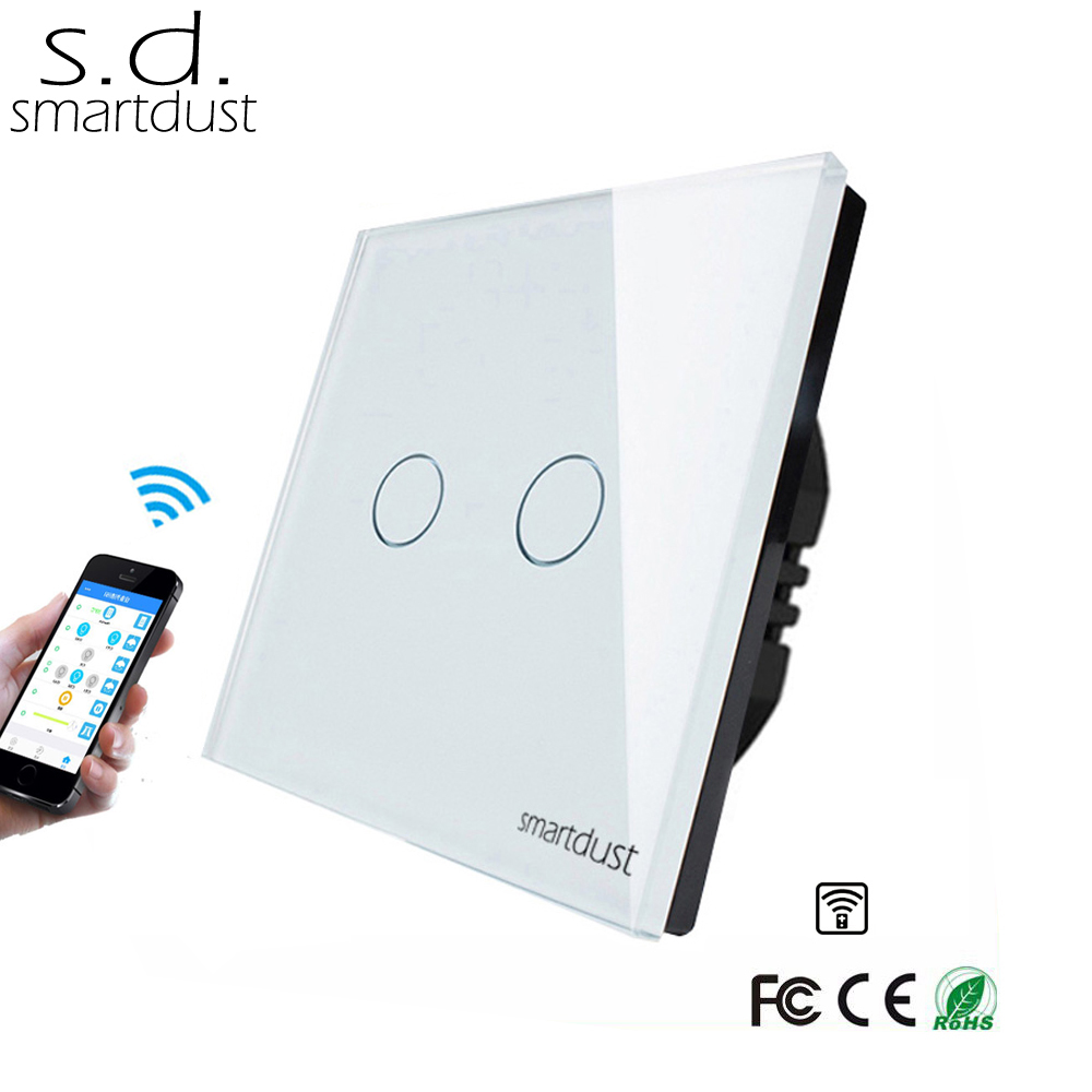 Smartdust EU Wireless Switch, 2 Gang Smart Switch Home Automation, Glass Panel Wifi Interruptor Touch Switch