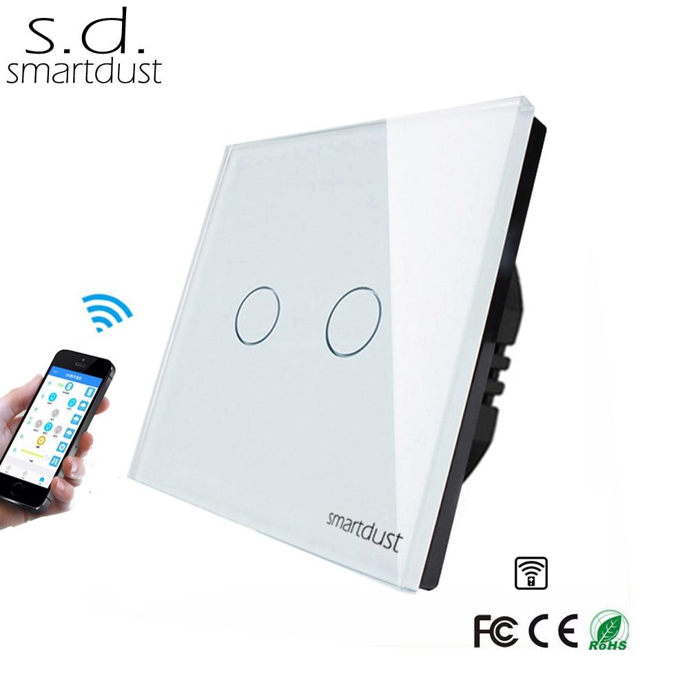 Smartdust EU Wireless Switch, 2 Gang Smart Switch Home Automation, Glass Panel Wifi Interruptor Touch Switch