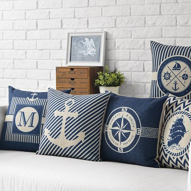 Marine Style Print Cushion Cover 2